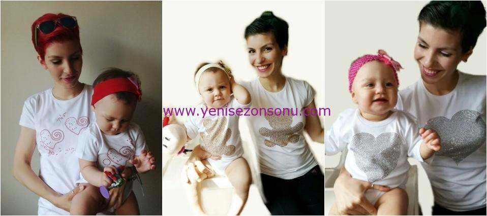 anne kız bebek uyumlu tişörtler