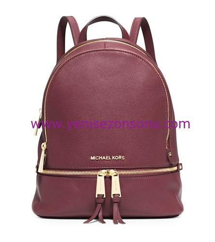 yeni sezon marsala rengi michael kors sırt çantası modelleri ve fiyatları 2016 RHEA BACK PACK DUSTY 1.050TL